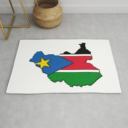 South Sudan Map with South Sudanese Flag Rug