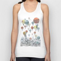 drawing Tank Tops featuring Voyages over Edinburgh by David Fleck