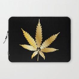 Gold Cannabis Leaf Laptop Sleeve