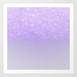 Modern purple sparkles ombre glitter lilac pastel color block Art Print