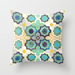 Marrakesh gold and blue geometry inspiration Throw Pillow