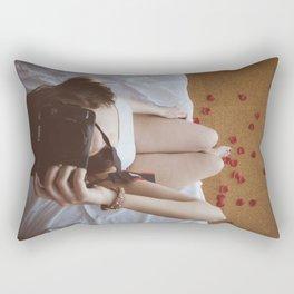 Girl with camara Rectangular Pillow
