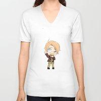 hetalia V-neck T-shirts featuring Chibi!America by Manos-Art