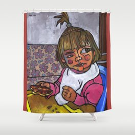 Baby with Pizza Shower Curtain