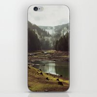 green iPhone & iPod Skins featuring Foggy Forest Creek by Kevin Russ