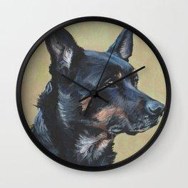 Australian Kelpie portrait dog art from an original painting by L.A.Shepard Wall Clock