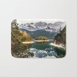 Green Blue Lake, Trees and Mountains Bath Mat