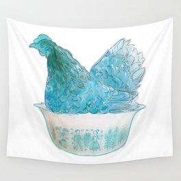 Animals in vintage bowls: Chicken Wall Tapestry