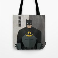super hero Tote Bags featuring Hero by Loud & Quiet