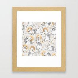 Floral Cats Framed Art Print