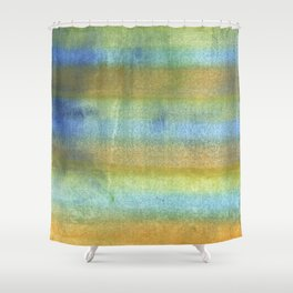 Yellow blue abstract rainbow painting Shower Curtain