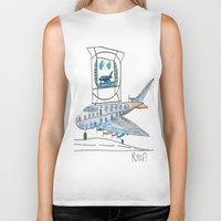 channel Biker Tanks featuring The Airplane Channel by Ryan van Gogh
