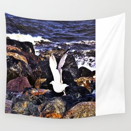 Seagull Ready For Flight Wall Tapestry