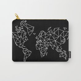 White on Black Geometric Low Poly Map of The World / Polygon geometry Carry-All Pouch