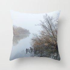 Magic Foggy Morning At The Lake Throw Pillow