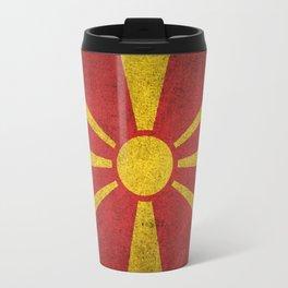 Old and Worn Distressed Vintage Flag of Macedonia Travel Mug