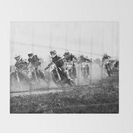 Motocross black white Throw Blanket