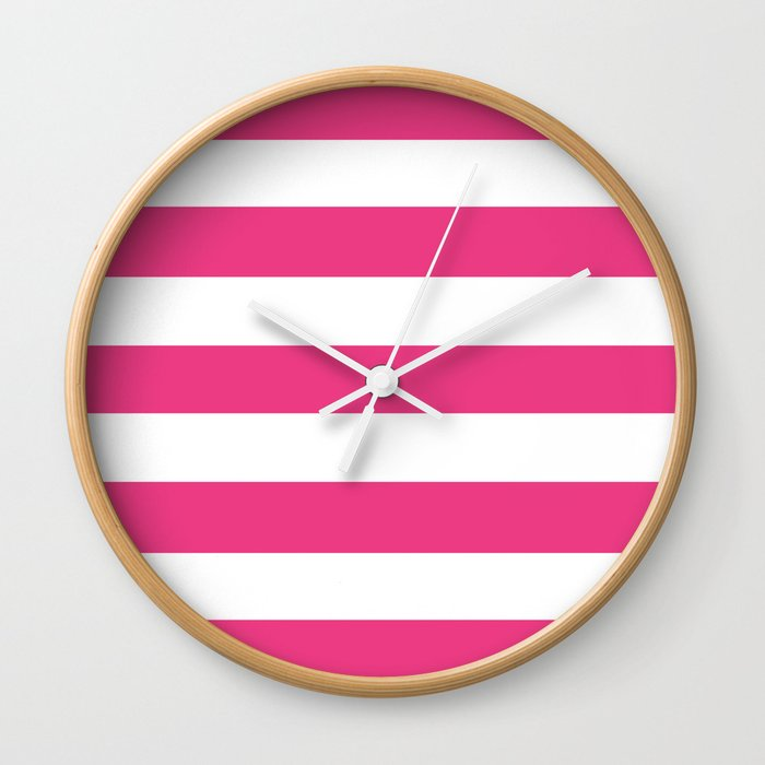 Cerise Pink Solid Color White Stripes Pattern Wall Clock By Makeitcolorful Society6