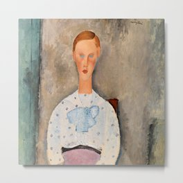 "Amedeo Modigliani ""Girl with a Polka-Dot Blouse (Jeune fille au corsage à pois)"" Metal Print"