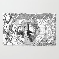 gore Area & Throw Rugs featuring Monster's Garden! by Davide Vitiello