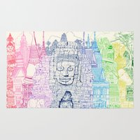 thailand Area & Throw Rugs featuring Angkor Wat & Thailand by cheism