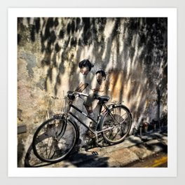 Little Children on a Bicycle Art Print