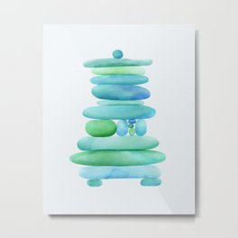 Sea Glass Cairn Watercolor - Teal and Blue Metal Print