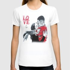 Black Love- Dwayne & Whitley SMALL Womens Fitted Tee White