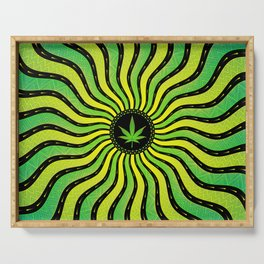 Marijuana energy | Sacred geometry mandala Serving Tray