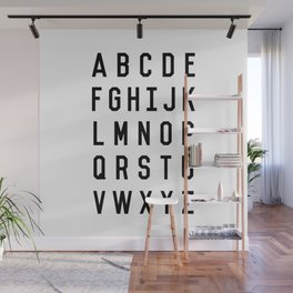 Black and White Typography Alphabet Design Poster with Monochrome Minimalist Letters Home Decor Wall Mural
