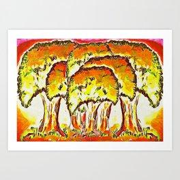 Tree Copse in Autumn Art Print