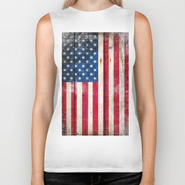 Vintage American Flag On Old Barn Wood Biker Tank