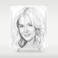 dexter Shower Curtains featuring Rita Bennett (DEXTER) by Olechka