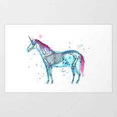 Unicorn Skeleton Art Print