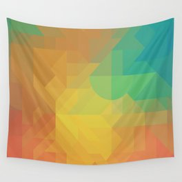 Geometric Pattern // Intricate Detailed Shapes // Gradient Colors (Orange, Yellow, Teal, Green, Red) Wall Tapestry