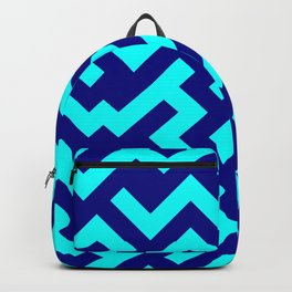 Cyan and Navy Blue Diagonal Labyrinth Backpack