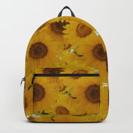 Rustic gray wood orange yellow sunflowers Backpack