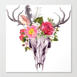 Bohemian watercolour skull with feathers and flowers Canvas Print
