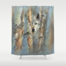White Wolf - Focused Shower Curtain
