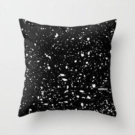 Retro Speckle Print - Black Throw Pillow