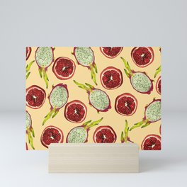 Pomegranate - Dragon Fruit Pattern yellow Mini Art Print