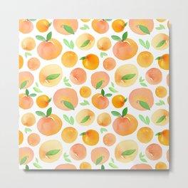 Watercolor Peach Pattern Metal Print