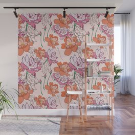 Pink and Orange Roses Wall Mural