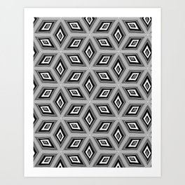 Silver and Black Tilted Cubes Pattern Art Print