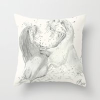 otters Throw Pillows featuring Playful Otters  by Jennifer Golla Art