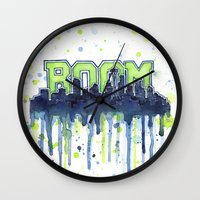 seahawks Wall Clocks featuring Seattle 12th Man Seahawks Painting Legion of Boom Art by Olechka