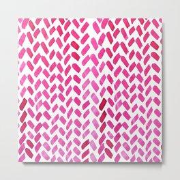 Cute watercolor knitting pattern - pink Metal Print