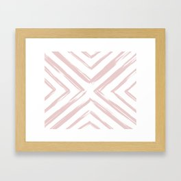 Minimalistic Rose Gold Paint Brush Triangle Diamond Pattern Framed Art Print