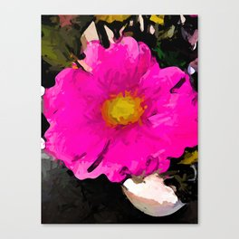 Pink and Gold Flower in a White Vase Canvas Print