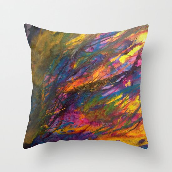 Sunset in the enchanted forest Throw Pillow